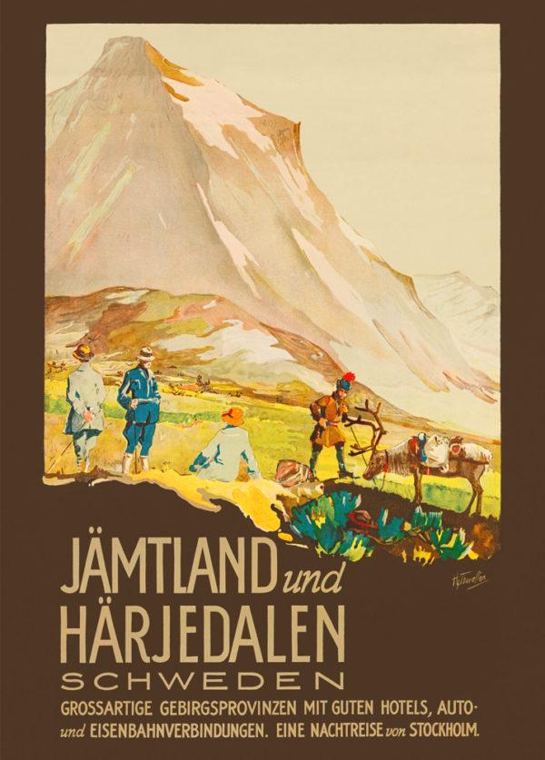 Tysk affisch som föreställer Jämtland och Härjedalen