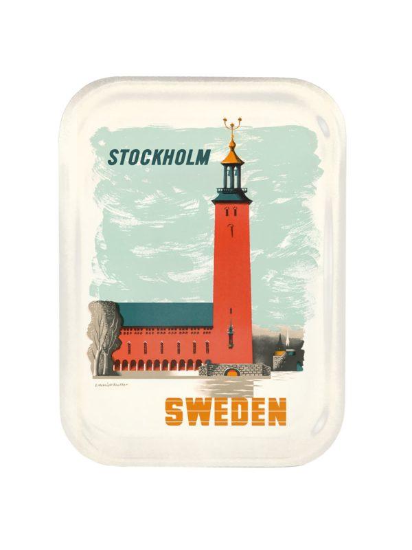 Bricka som föreställer stadshuset i Stockholm