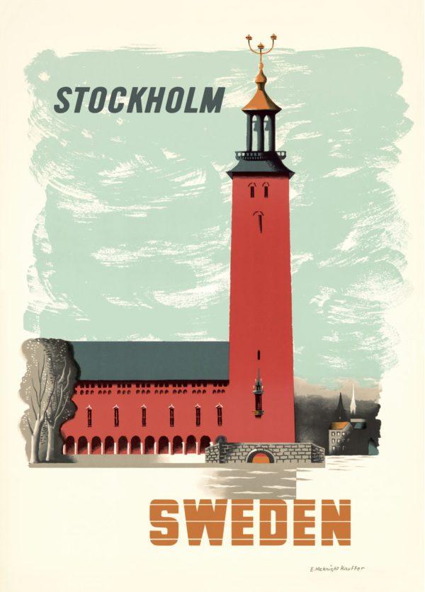 Affisch som föreställer stadshuset i Stockholm