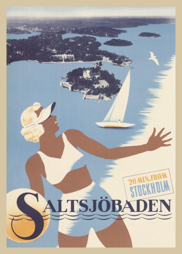Affisch som föreställer Saltsjöbaden, 20 min från Stockholm