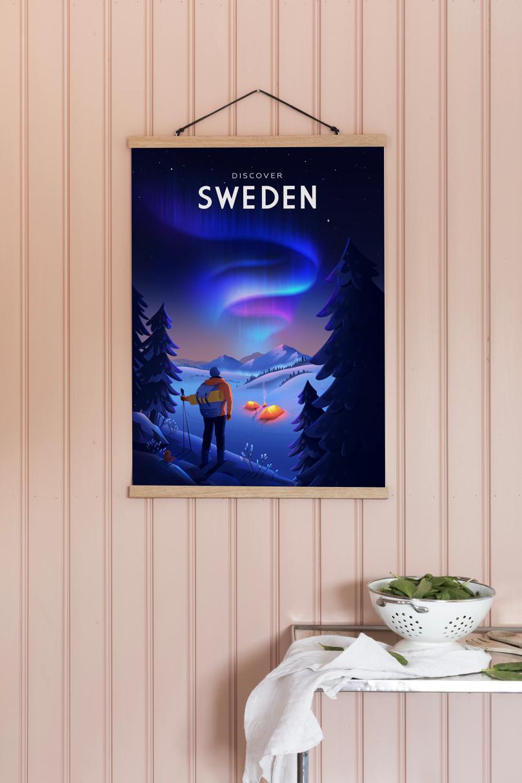 Affisch som föreställer en campare och norrsken i Sverige