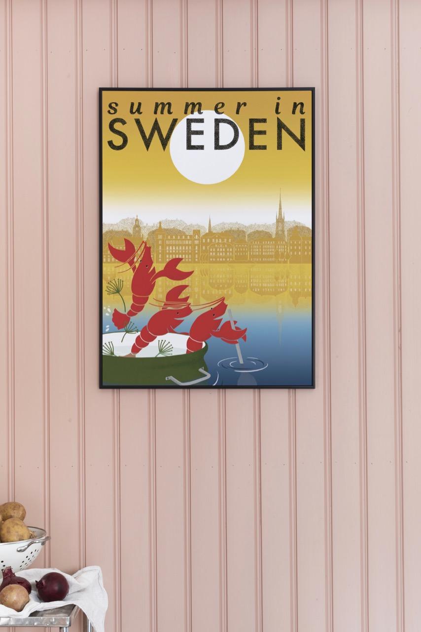 Affisch som föreställer sommaren i Sverige