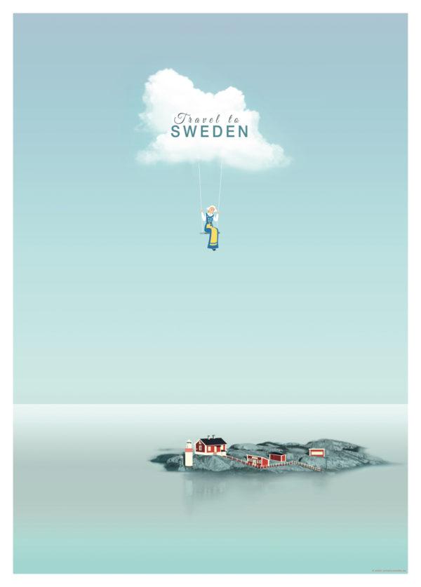 Affisch som föreställer en ensam ö i Sverige