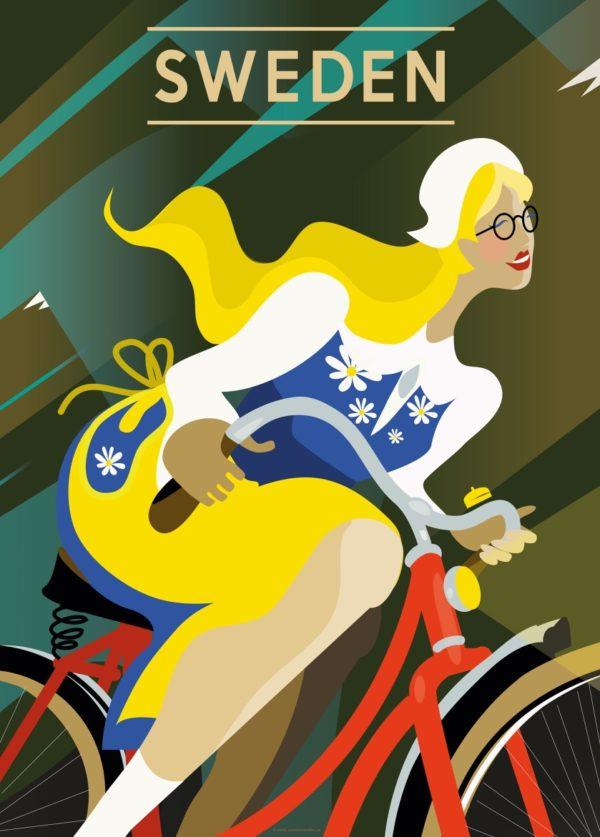 Affisch som föreställer en kvinna på cykel i Sverige