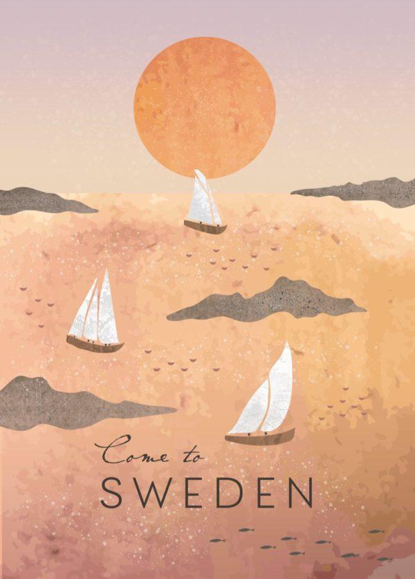 Affisch som föreställer små båtar och solen i Sverige